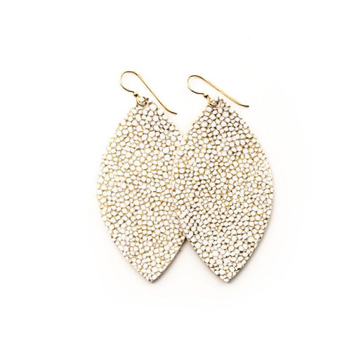 Keva Large Leather Earrings - White Gold Speckled