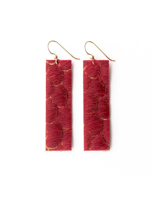 Keva Leather Rectangle Earrings - Red Scalloped