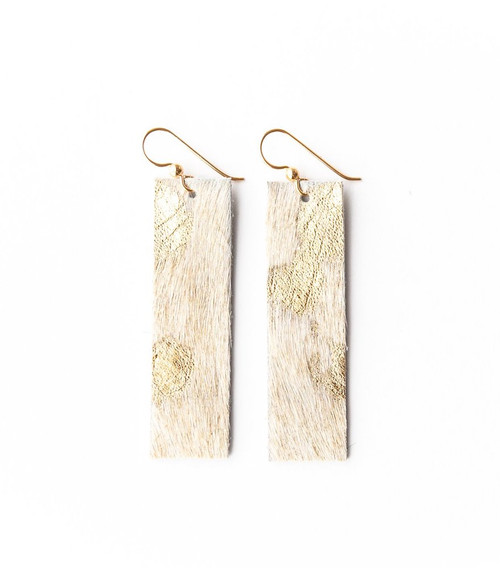 Keva Leather Rectangle Earrings - Gold Foil