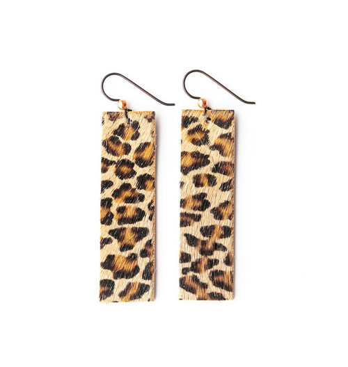 Keva Leather Rectangle Earrings - Cheetah