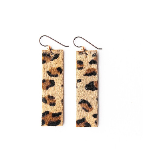 Keva Leather Rectangle Earrings - Leopard