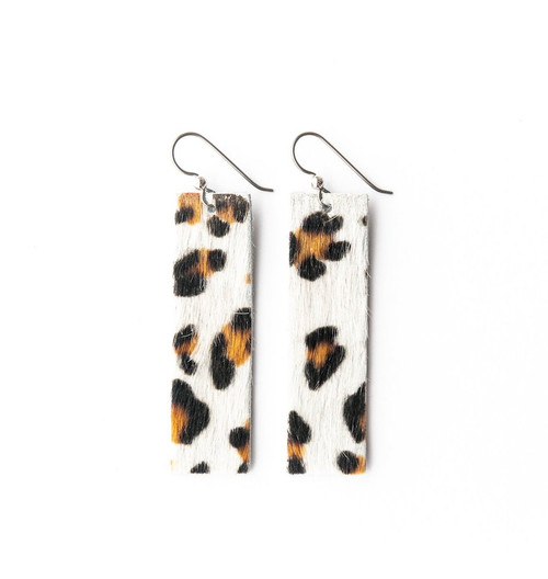 Keva Leather Rectangle Earrings - White Leopard