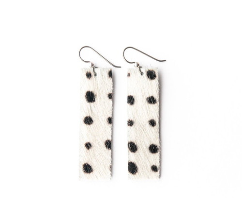 Keva Leather Rectangle Earrings - Spotted in Black