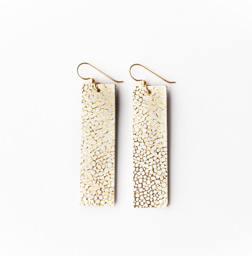 Keva Leather Rectangle Earrings - White Gold Speckled