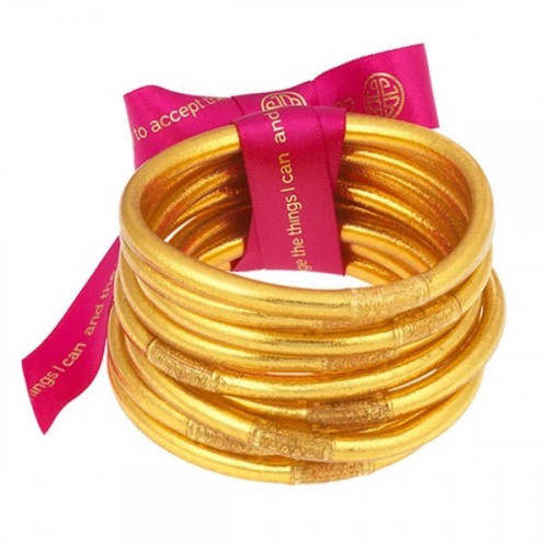 BuDha Girl All Weather Bangles - S/9 Gold Serenity Prayer