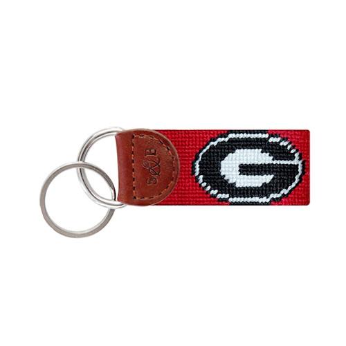 "Smathers & Branson Collegiate Needlepoint Key Fob - University of Georgia ""G"" - Red"