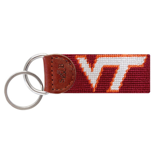 "Smathers & Branson Collegiate Needlepoint Key Fob - Virginia Tech University - ""VT"""