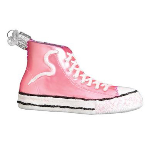 Old World Pink High Top Sneaker Christmas Ornament
