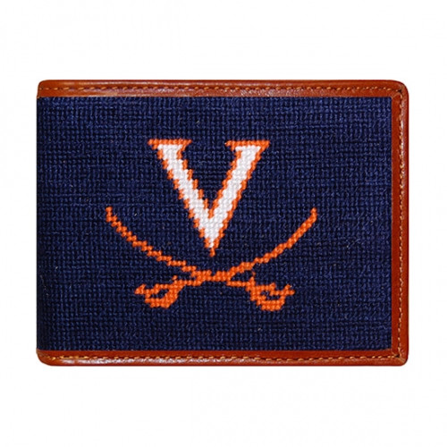 Smathers & Branson UVA - University of Virginia Bi-fold Needlepoint Wallet - Dark Navy