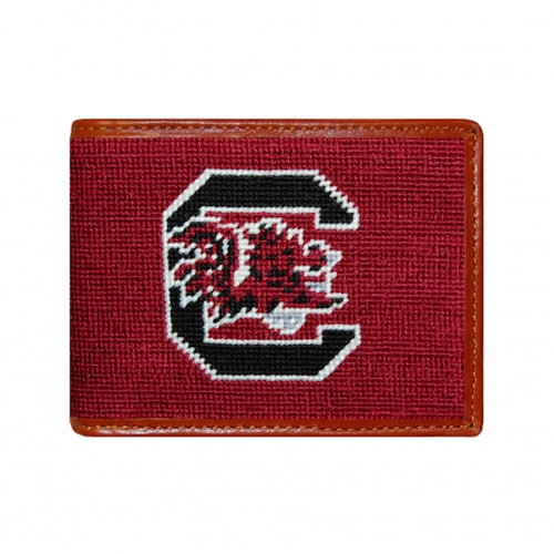 Smathers & Branson USC - University of South Carolina Bi-fold Needlepoint Wallet - Garnet