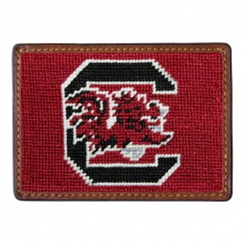 Smathers & Branson USC - University of South Carolina Credit Card Needlepoint Wallet - Garnet