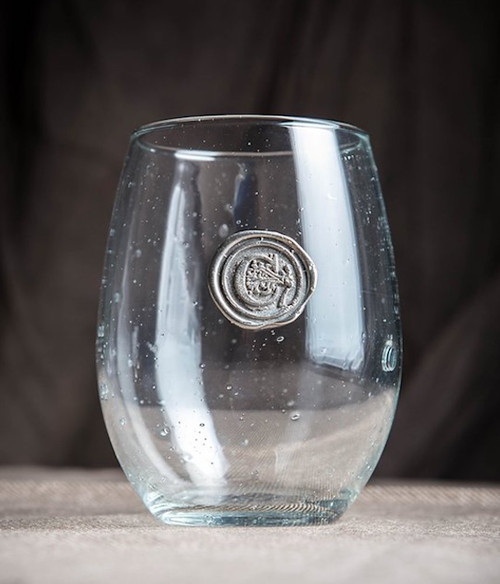 Pewter Initial Stemless Wine