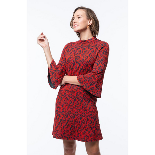 Tyler Boe - Mindy Dress – Scroll Navy and Red