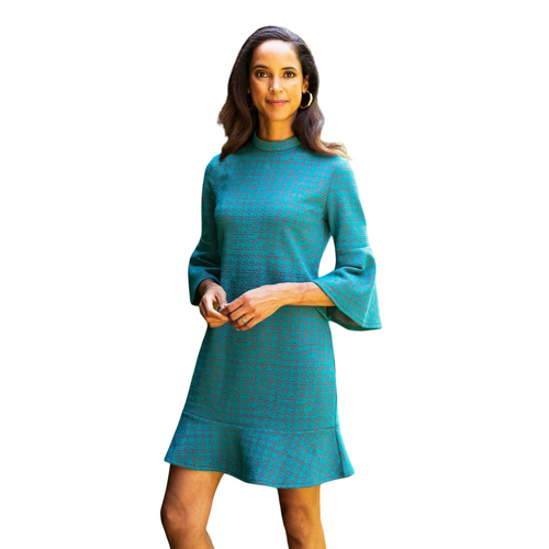 Tyler Boe - Mindy Dress – Teal Jigsaw