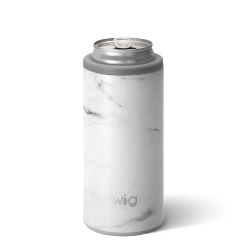 Skinny Can Cooler - White Marble Matte