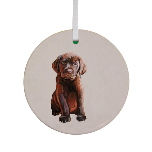 Brown Lab Pup Ornament