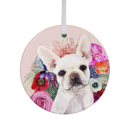 Floral Frenchie Pup Ornament