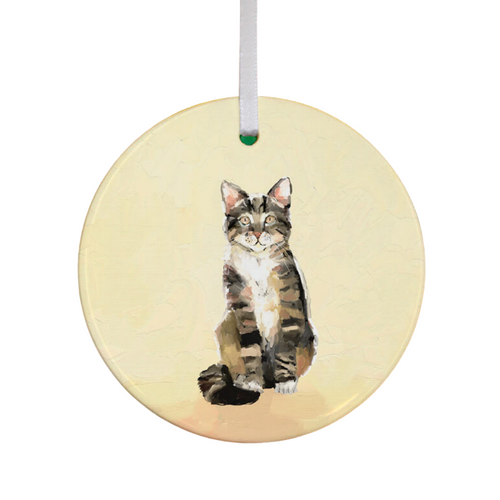 Tabby Cat on Yellow Ornament