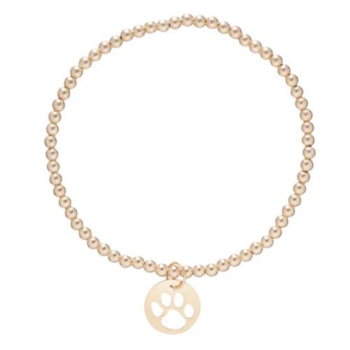 enewton Classic Gold 3mm Bead Bracelet - Paw Print