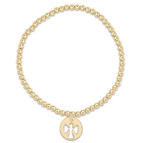 enewton Classic Gold 3mm Bead Bracelet - Guardian Angel Gold Charm