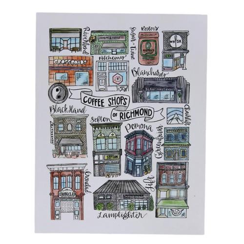 Richmond Coffee Shops 8.5x11 Art Print