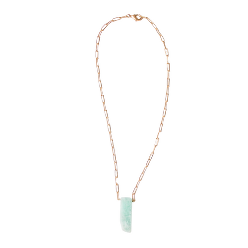"16"" Amazonite Stone Matte Gold Chain Charlotte Necklace"