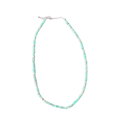 "16""Green Turquoise Heishi Beaded Elizabeth Necklace"