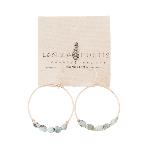"2"" Larimar Beaded Gold Hoop Sailor Earrings"