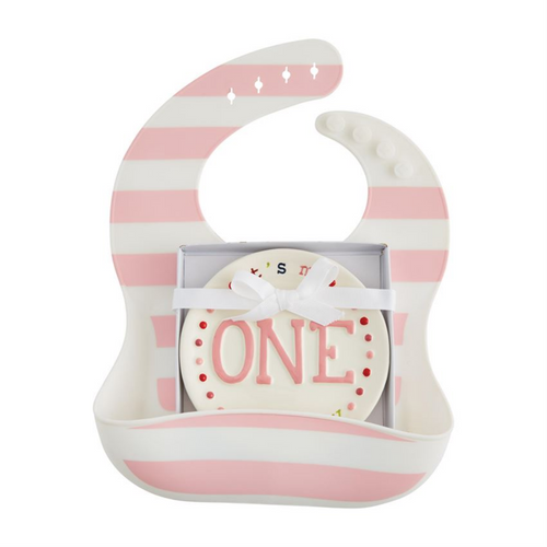 One Pink Bib and Plate Set