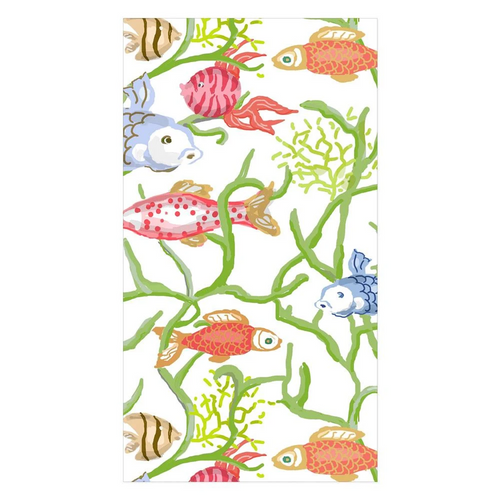 Guest Towel Napkins - Tropical Reef White