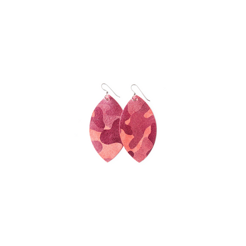 Keva Small Leather Earrings - Glamper Pink
