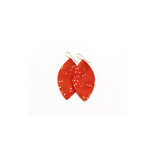 Keva Small Leather Earrings - Coral Speckled