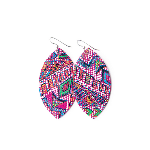 Keva Large Leather Earrings - Raspberry Beret
