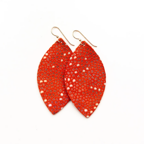 Keva Large Leather Earrings - Coral Speckled