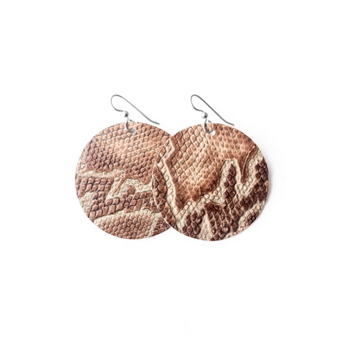 Keva Leather Round Earrings - Canal Street