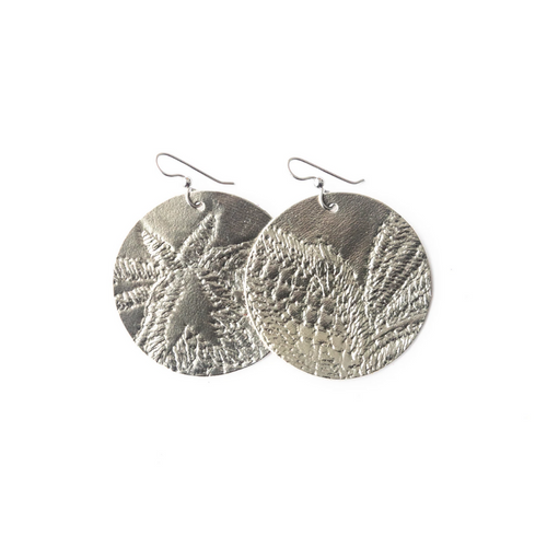 Keva Leather Round Earrings - Carytown