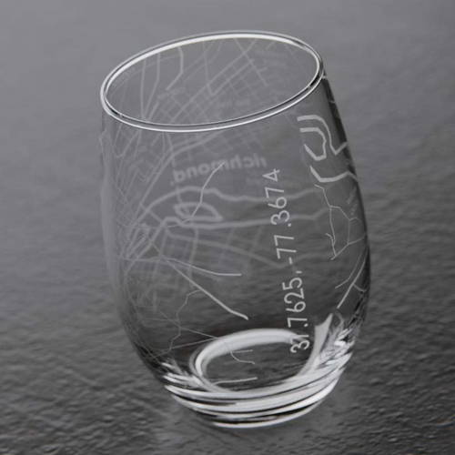 Richmond Map Stemless Wine Glass