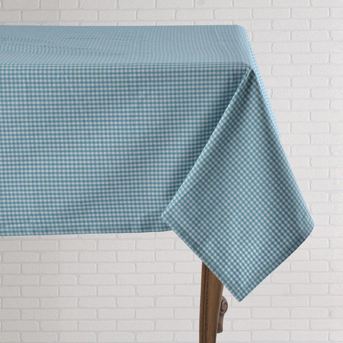 """Turquoise Gingham - 60"""" x 90"""" Tablecloth"""