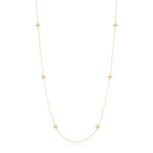 "41"" Necklace Simplicity Chain Gold - Classic Beaded Signature Cross"