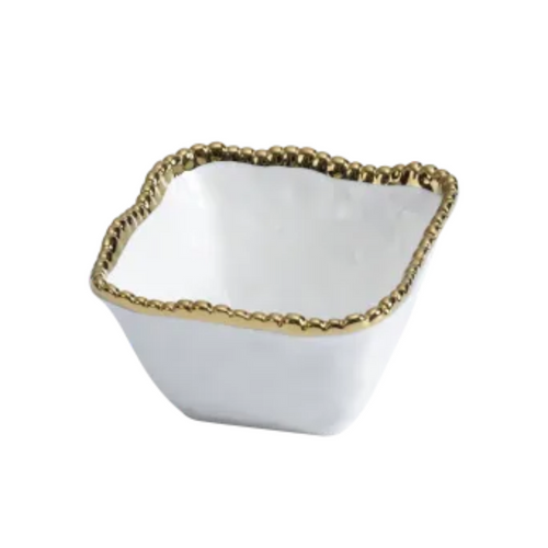 Pampa Bay - White & Gold Square Snack Bowl