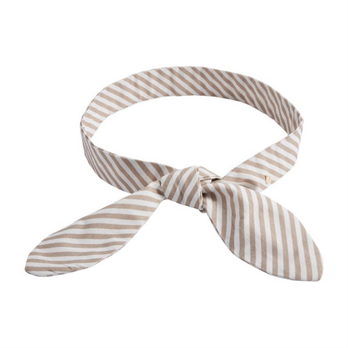 Taupe Striped Bow Belt