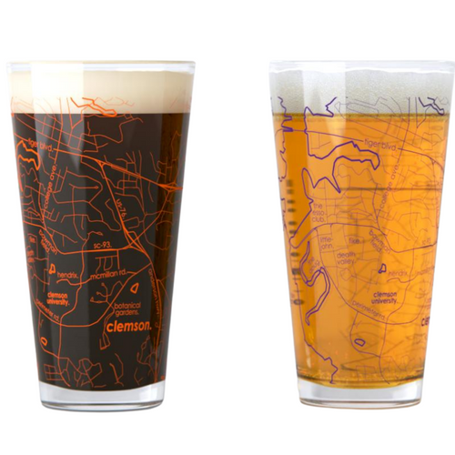 Clemson Map Pint Glasses - Set of 2
