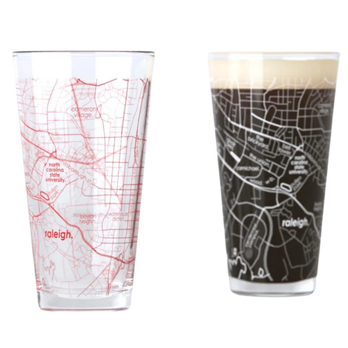 NC State Map Pint Glasses - Set of 2