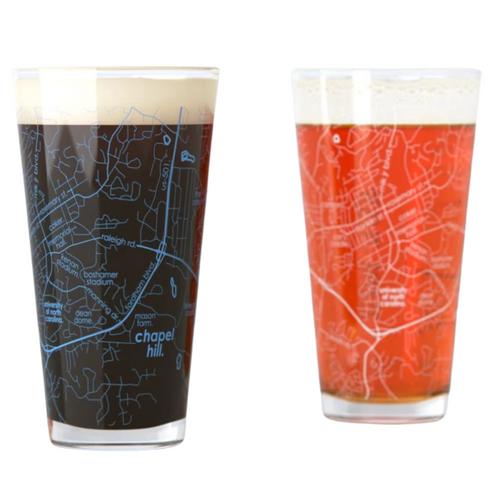 UNC Map Pint Glasses - Set of 2