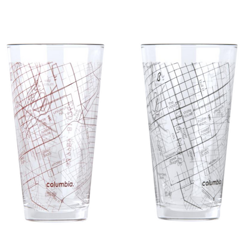 University of South Carolina Map Pint Glasses - Set of 2