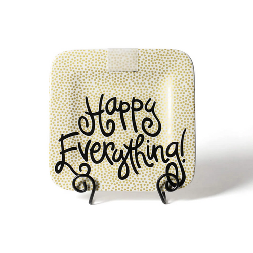 Happy Everything Mini Square Platter - Gold Small Dot
