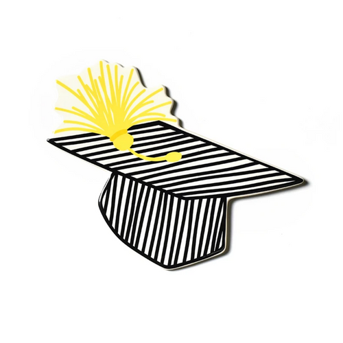 Happy Everything Large Attachment - Striped Graduation Cap