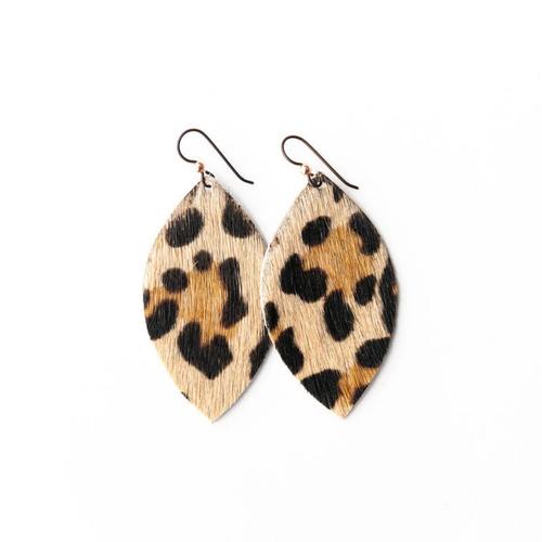 Keva Large Leather Earrings - Leopard