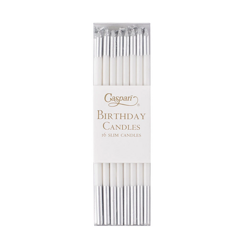 Silm Birthday Candles - White & Silver
