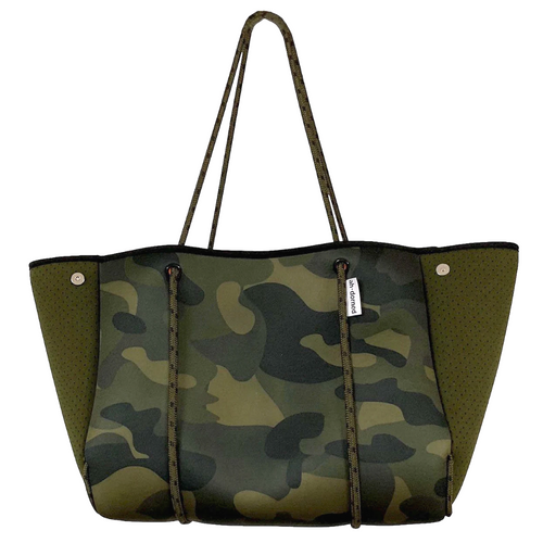 ah-dorned Army Camo Neoprene Tote - Solid Army Sides